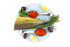 Salmon caviar and seafish Stock Image