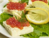 Salmon caviar snack Stock Image