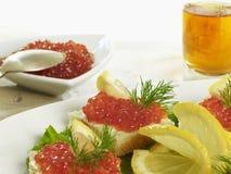 Salmon caviar snack Stock Photo