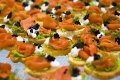 Salmon and caviar starters Stock Photography
