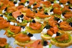 Salmon and caviar starters Stock Photography