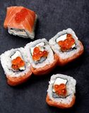 Salmon and Caviar Sushi Stock Images