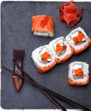 Salmon and Caviar Sushi Stock Photo