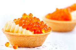 Salmon caviar. Tartlets with red caviar. Gourmet food. Seafood. Trout caviar Stock Photography