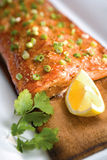 Salmon on a Cedar Plank Royalty Free Stock Images