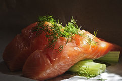 Salmon and celery Royalty Free Stock Photos