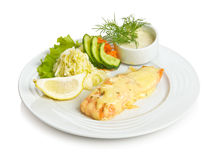 Salmon with cheese. Sauce and vegetable side dish Stock Image