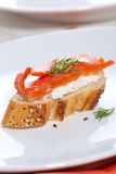 Salmon cheese canape Royalty Free Stock Photos