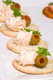 Salmon cheese canape Royalty Free Stock Images