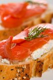 Salmon cheese canape Stock Photos