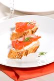 Salmon cheese canape Stock Photography