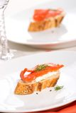 Salmon cheese canape Stock Images
