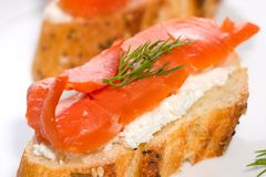 Salmon cheese canape Stock Photo