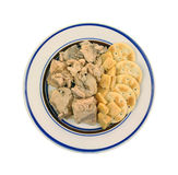 Salmon Cheese Crackers Overhead View Royalty Free Stock Photography