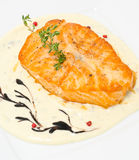Salmon with cheese sauce Royalty Free Stock Photos