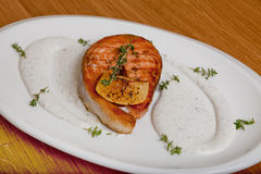 Salmon with cheese sauce Stock Photography