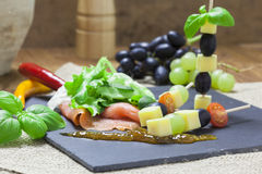 Salmon and Cheese skewers on a slate Stock Images