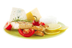 Salmon and cheeses Royalty Free Stock Photo