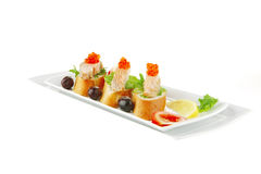 Salmon chunks and caviar on Royalty Free Stock Image