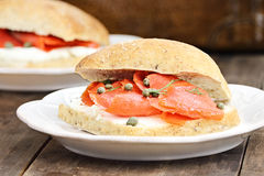 Salmon on Ciabatta Royalty Free Stock Images