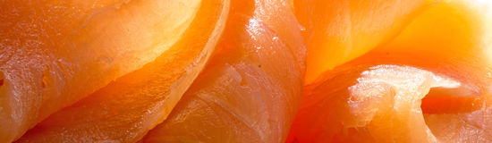 Salmon close up, background in panorama format. Salmon close up, wide background in panorama format e. g. for website header royalty free stock images