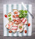 Salmon, closeup, tablecloth, vegetarian, meal, green, bagel, white, view, red, diet, snack, brunch, concept, lox, dill, breakfast,. Sandwiches cream cheese Royalty Free Stock Photo