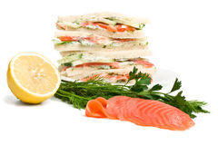 Salmon Club Sandwiches Stock Image