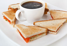 Salmon Club Sandwiches Stockfotos
