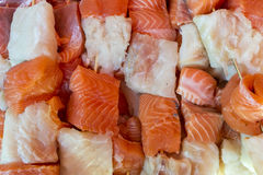Salmon and cod skewer Stock Image