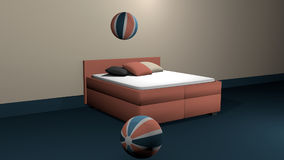 Salmon colored boxspring bed with two bouncing softballs. Salmon colored boxspring bed with two bouncing soft balls and cushions for decoration. 3d rendering stock illustration