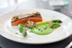 Salmon cooked with crispy skin stock photos