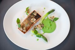 Salmon cooked with crispy skin stock photo