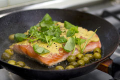 Salmon cooking Royalty Free Stock Image