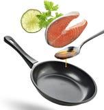 Salmon Cooking Ingredients Imágenes de archivo libres de regalías