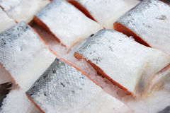 Salmon on cooled market display Stock Photos