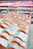 Salmon on cooled market display Stock Image