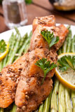 Salmon with coriander and asparagus Royalty Free Stock Photography