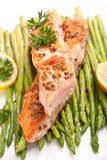 Salmon with coriander and asparagus Royalty Free Stock Photo