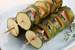 Salmon and courgette shashlik Stock Photo