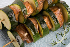 Salmon and courgette shashlik Royalty Free Stock Photography