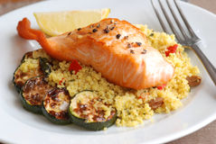 Salmon with couscous Royalty Free Stock Photo