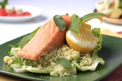 Salmon and couscous Royalty Free Stock Images