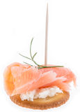 Salmon on a Cracker against white Royalty Free Stock Photo