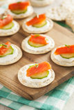 Salmon and Cracker Hor D'oeuvres Stock Photo