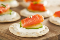 Salmon and Cracker Hor D'oeuvres Stock Photography