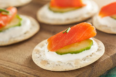 Salmon and Cracker Hor D'oeuvres Royalty Free Stock Image