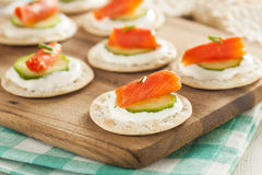 Salmon and Cracker Hor D'oeuvres. With Chives and Sour Cream Stock Photo