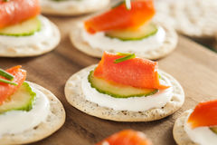 Salmon and Cracker Hor D'oeuvres. With Chives and Sour Cream Royalty Free Stock Photography