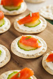 Salmon and Cracker Hor D'oeuvres Royalty Free Stock Images