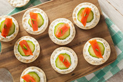 Salmon and Cracker Hor D'oeuvres Royalty Free Stock Photo